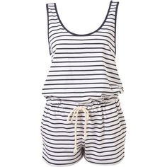 Navy Stripe Knot Back Playsuit ($30) ❤ liked on Polyvore featuring jumpsuits, rompers, dresses, playsuits, shorts, women, white romper jumpsuit, playsuit romper, romper jumpsuit and sleeveless jumpsuit