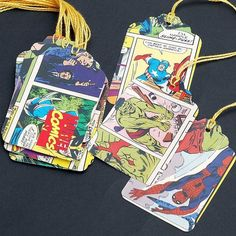 Marvel  Comics super hero recycled gift tags by TanithsOddsAndEnds