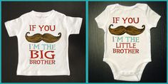 Funny 2 pack Mustache Brother Shirts - Big Brother Shirt and Little Brother One Piece  - Brothers Mustache Shirt - Baby and Toddler Clothes