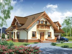 Description House with attic, intended for family.On the ground floor there is a spacious living room open to the. Modern Bungalow House, Craftsman Style House Plans, Cottage House Plans, New House Plans, Cottage Homes, 1200 Sq Ft House, Home Design Images, House With Balcony, Loft Room