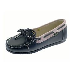 Very comfortable leather moccasins - a classical boat shoe for little feet in a beautiful two color combination. Very easy to put on and perfect for every day wear. Lined with soft leather, with a non-slip sole.