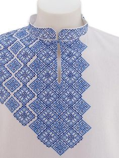 White linen shirt with fully embroidered sleeve