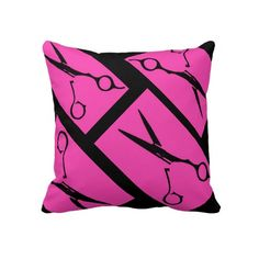 Pink black hair salon scissor decorative pillow. I NEED THIS PILLOW!!!