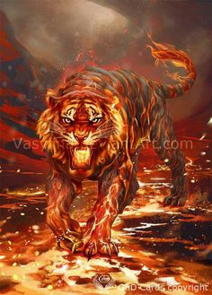Beast 2 by Vasylina on DeviantArt Wild Animal Wallpaper, Tiger Wallpaper, Big Cats Art, Cat Art, Medieval Painting, Mythical Creatures Art, Flame Art, Tiger Art, Lion Art