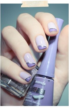2 tone purple nail art with silver striping tape. Bourjois – Lavande Esquisse & Essie. Manicure