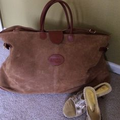 """ATELIER BRIDAS BAG Amazing travel bag. Brown suede-23 1/2"""" wide•14"""" tall•bottom width 8"""" wide. Good condition. Fabulous quality. Atelier Bridas Bags Travel Bags"""