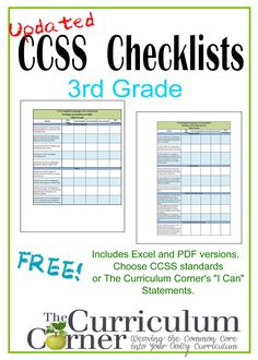 CCSS Checklists & I Can Checklists for 3rd Grade | FREE | from www.thecurriculumcorner.com