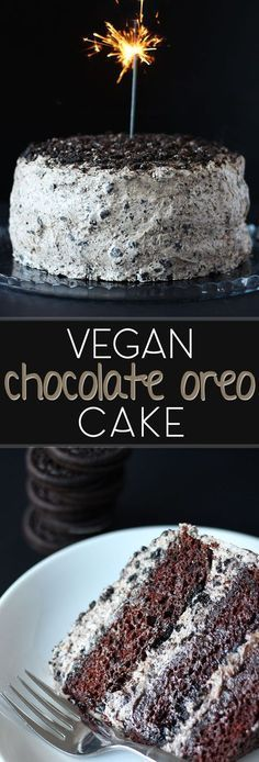 The beloved oreo cookie steals the show in this amazing vegan chocolate cake! Th… The beloved oreo cookie steals the show in this amazing vegan chocolate cake! This cake is especially perfect for birthdays and special occasions! Vegan Treats, Vegan Foods, Vegan Dishes, Food Cakes, Biscuit Oreo, Chocolate Oreo Cake, Cocoa Cake, Chocolate Vegan Dessert Recipes, Easy Vegan Chocolate Cake