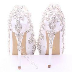 Shoespie Embroidered Platform Heel Bridal Shoes