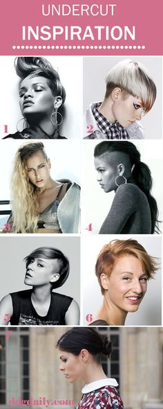 Get inspo from these edgy 'dos. Think: short hair, undercuts, shaven sides and tousled tresses. Time to take the chop!