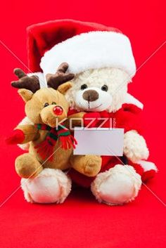 rudolph on santa's lap - Shot of Rudolph the reindeer on Santa themed teddy bear holding a white card, on a red background.