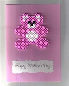 hama bead teddy bear card by: kaz2429