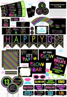 Printable Glow in the Dark Birthday Party Package   Teen Girl DIY Party Decor   Black Light   Neon   80's Party   Roller Skating Party   Teenager   Banner   Food Labels   Signs   Photo Props   Cupcake Toppers   Favor Tag   Water Bottle Labels and more!