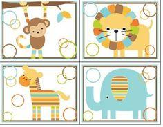 Mod Jungle Animals Wall Decals Baby Boy Nursery Room Monkey Elephant Zebra Decor
