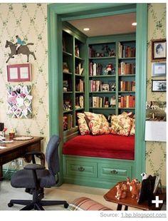 Love this idea ...closet book nook