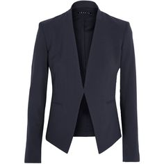 Theory Lanai stretch-wool crepe blazer (136.840 HUF) ❤ liked on Polyvore featuring outerwear, jackets, blazers, blue, open front jacket, navy jacket, theory jacket, navy blazer and open front blazer