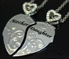 2 Part Mother & Daughter Heart Necklaces Mothers Day Birthday Xmas Gifts For Her Xmas Gifts For Her, Love Gifts, Necklace Set, Dog Tag Necklace, Best Mothers Day Gifts, Jewellery Uk, Chains For Men, Matching Necklaces, Father
