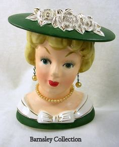 Vintage Rose Hat Lady Head Vase.  My Aunt Louise had these all over her dining room buffet!  So cool! Head Planters, Vintage Planters, Doll Head, Vintage Roses, Rose Hat, Half Dolls, Porcelain Vase, Hat Pins, Flower Pots