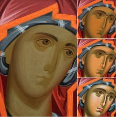 Religious Images, Religious Icons, Religious Art, Painting Process, Painting Lessons, Painting Techniques, Byzantine Icons, Byzantine Art, Writing Icon