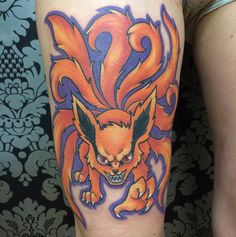 Nine tailed fox from Naruto (one of my all time favorite anime) on the super tough and awesome Chloe who came all the way from Montreal just to get tattooed so grateful to have such awesome clients!!! #jessicavtattoos #naruto #narutoshippuden #kyuubi #ninetails #anime #animetattoo #kowai #tattoo #tattoos #fox