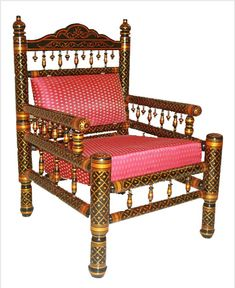 A sankheda chair. Lucky has a loveseat version of this wooden frame. Traditional Living Room Furniture, Traditional Design, Wooden Frames, Handicraft, Love Seat, Armchair, The Originals, Chairs, Indian