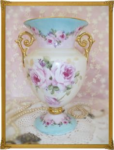 Cottage Romantic Shabby Vintage Chic Porcelain Urn Vase with Pink Roses by Amy Enright Medina Art, via Flickr