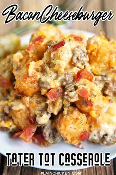 30 Easy Ground Beef Recipes for Dinner (with just few Ingredients) - Recipe Magik Cheeseburger Tater Tot Casserole, Bacon Cheeseburger Casserole, Chicken Casserole, Hamburger Casserole, Cheese Burger Soup Recipes, Cheese Soup, Cheddar Cheese, Tater Tots, Slow Cooker Bacon