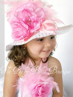 Tea party hat/ Easter Hat for Little Girls by TheBabyBellaBoutique,