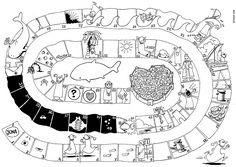 Bordspel over Jona, de spelregels staan op mijn bord OT Jona Jonah in een andere pin