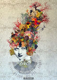 Maria Rivans - Collage artist, she uses a plain background which looks very antique and old and then she uses bright colours for the image which makes it stand out. the bright collage pieces looks like headwear for the woman in the piece she uses different images to make this such as flowers, fruit and veg, as well as animals and humans.