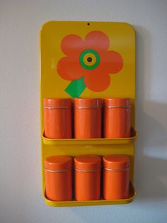 Retro Spice Rack with Tins