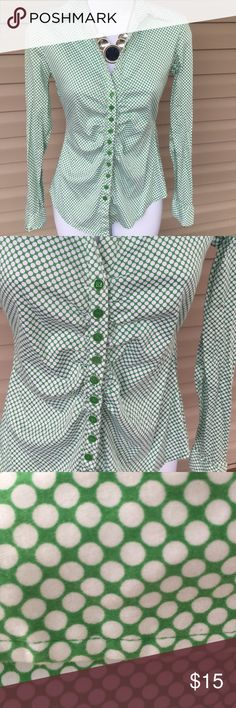 Green& White button down blouse So cute! Green & White button down blouse. New York & Company Tops Blouses