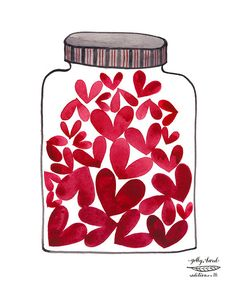 JAR FILLED WITH HEARTS - jar of love giclee print reproduction watercolor by Golly Bard