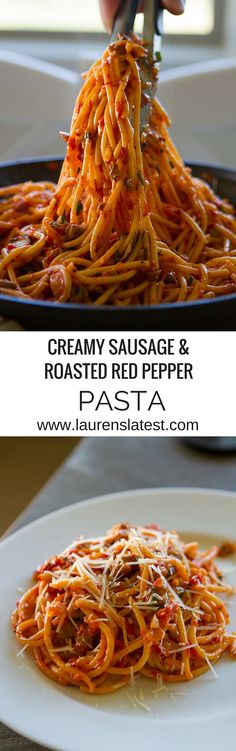 Creamy Sausage & Roasted Red Pepper Pasta....an easy and addictive 30 minute pasta dinner!