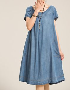 Loose Fitting Short Sleeved Cotton Long Dress