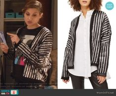 Nomi's metallic striped jacket and beatles t-shirt on Grown-ish.  Outfit Details: https://wornontv.net/91125/ #Grown-ish