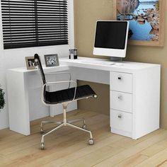 Resultado de imagem para escrivaninha com gaveta de chave para notebook com lugar para livros