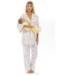 24c95f65db5c6 Olian Maternity Yellow Flowers Nursing Pajama Set -- You can get additional  details at the