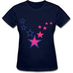 Stars Women's T-Shirt Navy Women's T-Shirt | SnapMade.com ($19) ❤ liked on Polyvore featuring tops, t-shirts, navy blue t shirt, relaxed fit t shirt, navy blue shirt, ribbed t shirt and sleeve t shirt