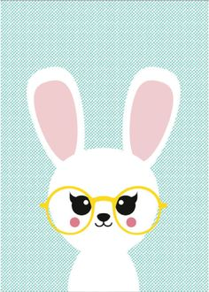 Baby, nursery, art, decor, decorate, decorating, decoration, decorations, print, bunny, rabbit, glasses
