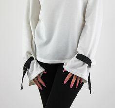 Off White Long Belted Sleeve Round Neck Sweatshirt