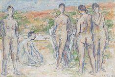 Bathers - Tapani Raittila , Finnish, Oil on canvas, 61 x 90 cm. Modern Art, Contemporary Art, All Themes, Bukowski, Wine And Spirits, Sell Your Art, Oil On Canvas, Auction, Painting