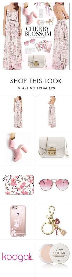 """""""Cherry blossom"""" by mada-malureanu ❤ liked on Polyvore featuring Furla, Casetify, Minnie Rose, Michael Kors, Fresh, koogal and koogallove"""