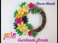 E10 Como fazer Uma Guirlanda Florida - How to Make a Flower Wreath