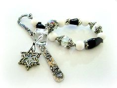 Black and White Snowflake Charm Bookmark, Beaded