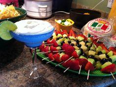 Fruit skewers with margarita fruit dip! Mexican food theme!