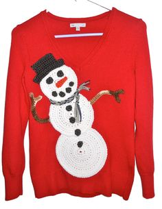 Handmade Ugly Christmas Sweater  Red Snowman by ArasFavoriteThings... all i want for christmas is an UGLY CHRISTMAS SWEATER!