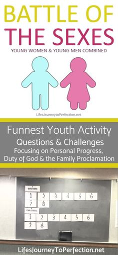 Combined LDS youth mutual activity Battle of The Sexes. Focus on Duty to God, Personal Progress and the Family Proclamation