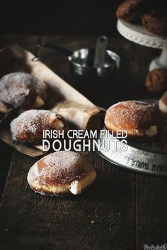 Jelly and Bavarian Cream get all the press when it comes to filled doughnuts. What about Irish Cream Doughnuts? Just Desserts, Delicious Desserts, Dessert Recipes, Yummy Food, Irish Recipes, Sweet Recipes, Yummy Recipes, Churros, Donut Recipes