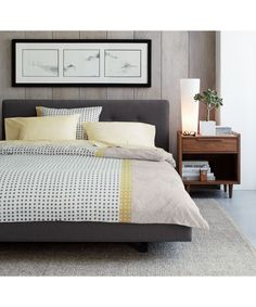 Shop Tate Queen Upholstered Bed Streamlined, low platform bed sits on inset legs finished in dark brown to create a floating effect. The Tate Charcoal Queen Bed is a Crate and Barrel exclusive. Decor, Furniture, Bed Design Modern, Modern Room, Home, Bedroom Design, Bed, King Upholstered Bed, Upholstered Full Bed